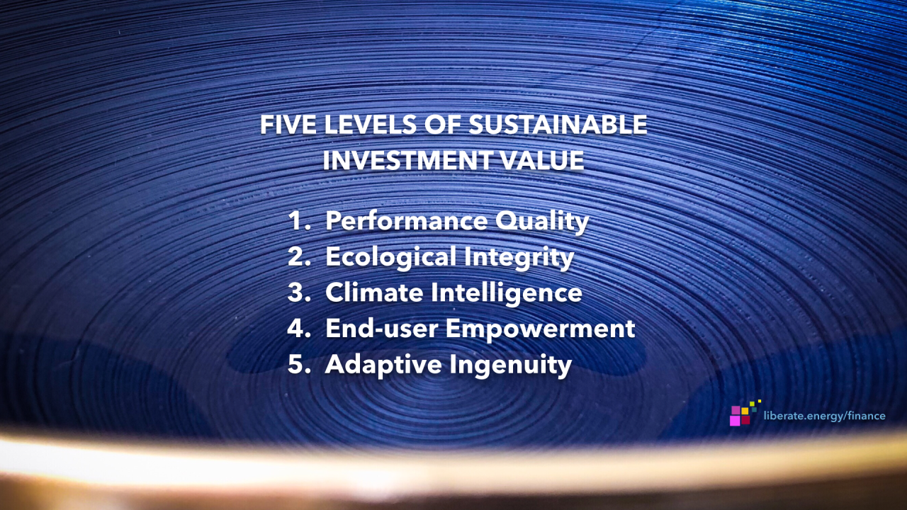 Five Levels of Sustainable Investment Value
